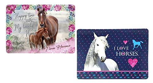 Theonoi Pferde Tischset: 2 x Malunterlage, Knetunterlage, Bastelunterlage/Tisch Matten/Platzdeckchen/Tischunterlage/Essunterlage/Platzset aus Kunststoff 42 x 28 cm (Pferd 3)