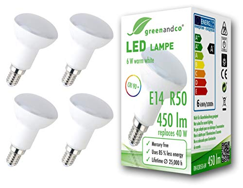 4x Lampadina a LED greenandco IRC 90+ R50 E14 6W (equivalente 40W) 450lm 3000K (bianco caldo) 160° 230V AC, forma de reflector, nessun sfarfallio, non dimmerabile