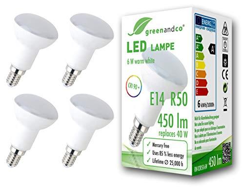 4x greenandco® CRI 90+ LED Lampe ersetzt 40 Watt R50 E14 matt, 6W 450 Lumen 3000K warmweiß 160° 230V AC, flimmerfrei, nicht dimmbar, 2 Jahre Garantie