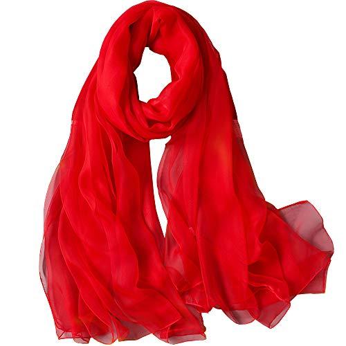 WZTP pañuelos de Emulación seda Mujer Mantón Bufanda Moda Señoras Playa Estolas Fular Rojo