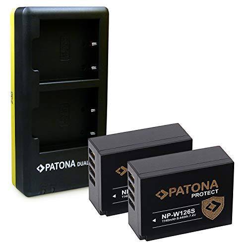 PATONA Cargador Doble con 2X NP-W126S Protect V1 Bateria, NTC Compatible con Fujifilm FinePix VPB-XT3 HS50EXR XPro-3