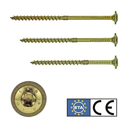 Tellerkopfschrauben StarDrive GPR® Holzbauschrauben Tellerkopf 8,0 x 80 mm, 50 Stück, Torx 40 - gelb verzinkt, mit Zulassung