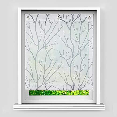 Heichkell Voile Haken Raffgardine Transparent Rollos 》Baumzweige《 Bedruckt Muster Modern Gardine V-Haken ohne Bohren, Falten durch Bandsystem, Weiß#1 HxB 140x120 cm