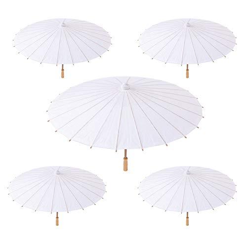 Set di 5 Ombrelli Bianchi in Carta e bambù per i Vostri Eventi all'aperto (Matrimoni, Battesimi, Feste, Serate, ECC.) (5 Ombrelli)
