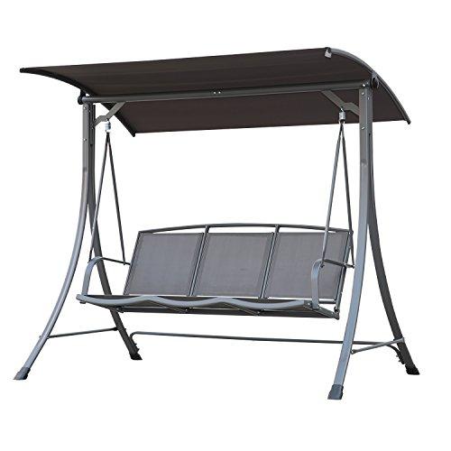 Angel Living 5869200 Hollywoodschaukel Gartenschaukel 3 Sitzer mit Sonnenschutz aus Stahl,Polyester