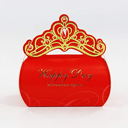 10pcs Bronzing Crown Favor Candy Box for Wedding Party Birthday Engagement Candy Boxes Chocolate Gift Packaging Box (Red)