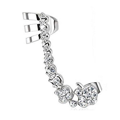 Bungsa® Rechts - Ear Cuff Edelstahl Kristallkette Ohrstecker silber für Damen (Conch Fake Piercing Ring Clip Ohrringe Ohrschmuck Ohrklemmen Damen Frauen Herren Mode)