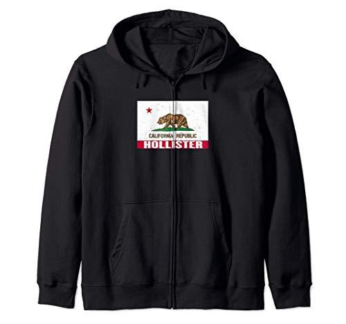 Hollister, California -Bandera de la República de CA apenada Sudadera con Capucha
