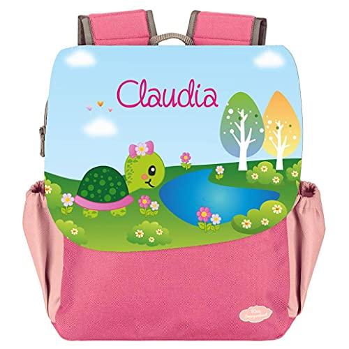 Mein Zwergenland Kindergartenrucksack Happy Knirps NEXT Print mit Name Schildkröte, 6L, Pink