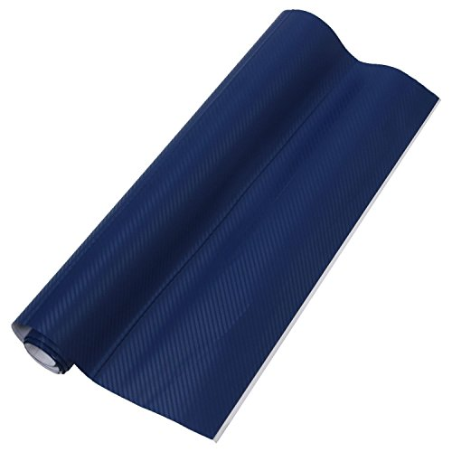 Dasorende 50 * 127cm 3D Carbon Fiber Vinyl Car Wrap Sheet Roll Film Sticker Decal Blue