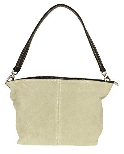 Girly Handbags Bolsa de hombro genuino gamuza de piel de cordero (Beige)