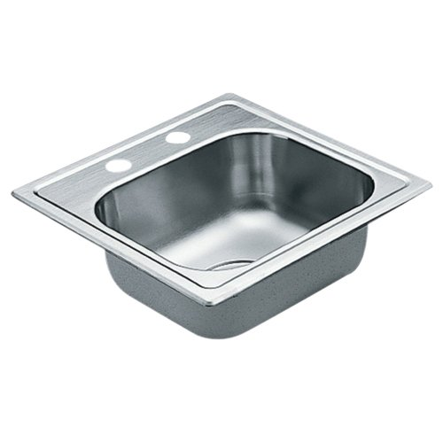 Moen 2200 Series 22 Gauge Single Bowl Drop In Sink, 15 x 15, Stainless Steel (G2245622)