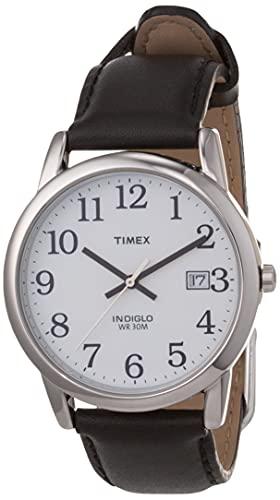 Timex T2H281 - Reloj análogico de cuarzo con correa de cuero para hombre, color negro/gris