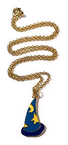 FizzyButton Gifts blauwe en gele email toveraar heksen hoed gevormd charme met vergulde roestvrij stalen ketting in geschenkdoos