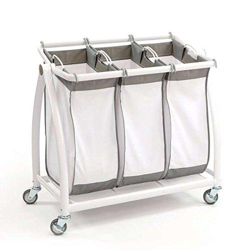 Seville Classics Snow White Polyester/Mesh/Metal 3-bag Tilt Laundry Sorter