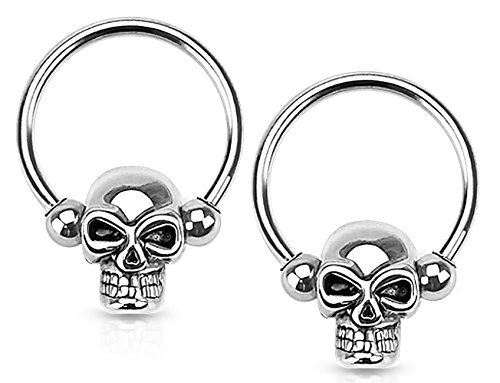 Forbidden Body Jewelry Set of 14G 12mm Surgical Steel Skull CBR Hoops for Ear Lobes/Cartilage/Nipples