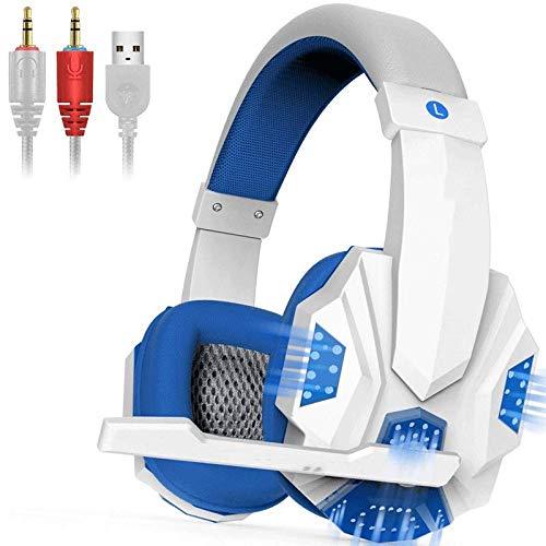 Hoofdtelefoon voor pc-games, hoofdtelefoon met kabel voor hoofdtelefoon met audio-stereo met LED-licht voor microfoon, voor pc-games
