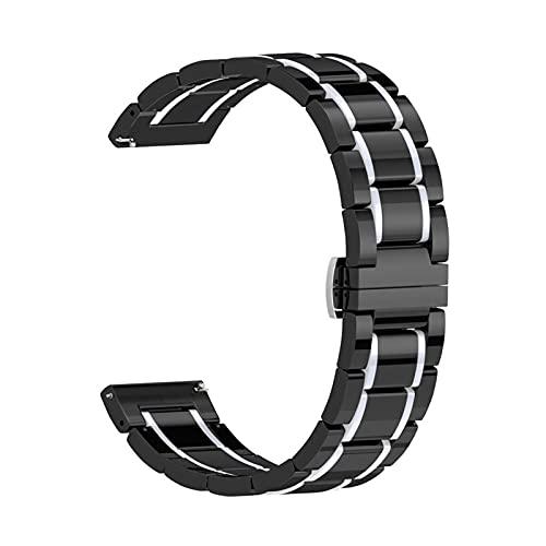 SSXPNJALQ 20 mm 22 mm 24 mm Banda de cerámica Apta para Samsung Galaxy 3 Active 46mm 42 Reloj en Forma para el Ritmo del asazate/Stratos 2 / BIP Smart Ceramic Ceramic Correa de Lujo