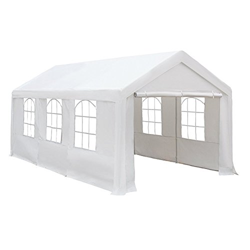 Abba Patio Extra Large Heavy Duty Carport with Removable Sidewalls Portable Garage Car Canopy Boat Shelter Tent for Party, Wedding, Garden Storage Shed 8 Legs, 10 x 20 Feet,White