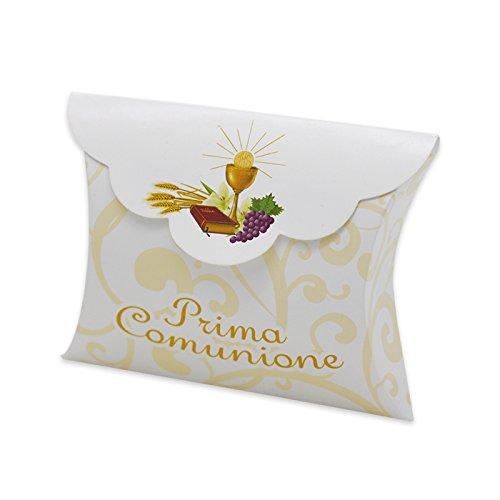 Big Party- Conf. 25 Scatoline Portaconfetti per Bomboniere Prima Comunione, Colore Bianco E Beige, BIG-81601