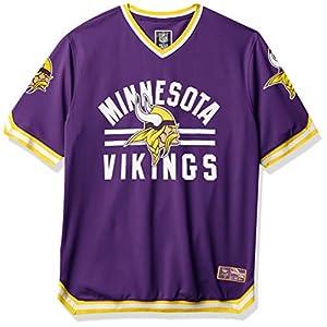 Ultra Game NFL Minnesota Vikings Mens Standard Jersey V-Neck Mesh Stripe Tee Shirt, Team Color, Medium