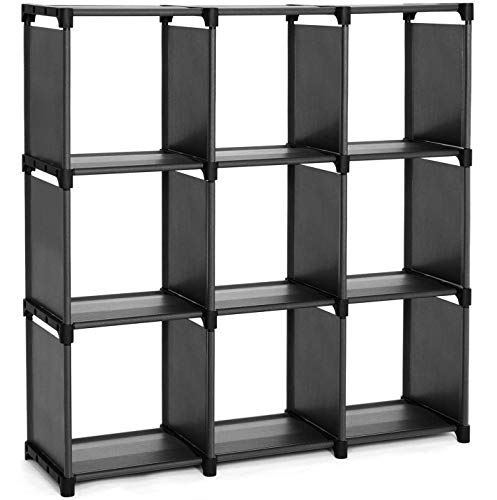 SONGMICS Estantería Modular, Librería Abierta con 9 Cubos, Armario de Almacenamiento, para Estudio de Hogar Sala de Estar, Negro LSN45BK