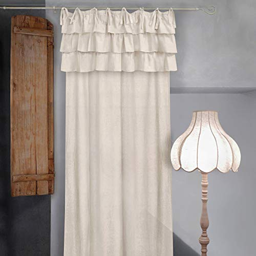 Tenda con Balze Shabby Chic Etoile Collection 135 x 290 cm Colore Avorio Chiaro