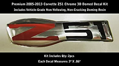 Corvette Z51 2005-2013 3D Domed Decal Kit 2pcs Chrome & Red Non-Yellowing 0204