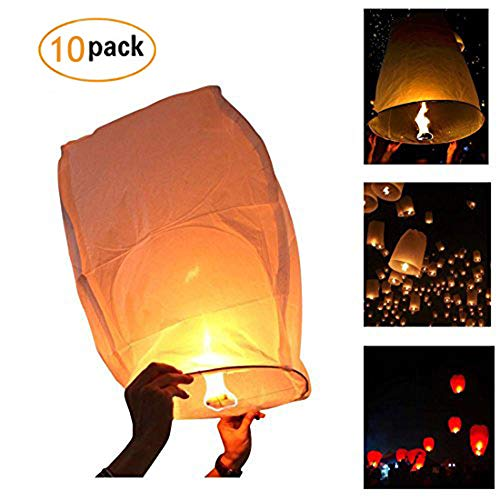 Bagvhandbagro White Paper Lanterns, 10Pcs Sky Wish Lanterns,Fully Assembled, 100% Biodegradable, New Designed Sky Lanterns For Birthdays, Ceremonies, Weddings And More