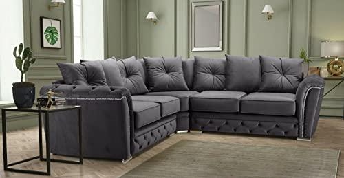 Modern Dark Grey Plush Fabric Corner Sofa for Sale-Sofa Set -Extra Large Sofa Cheap Corner Sofa-Garden Corner Sofa Chesterfield -Sofas Rooms Furniture