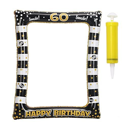 LOPOTIN 60 Anni Compleanno Cornice Selfie, Compleanno Decorazione Gonfiabile Cornice Oggetto Ornamentale per Selfie Booth Puntelli Oro Nero Cornici per Foto Decorazioni per Feste Celebrazione Favore.