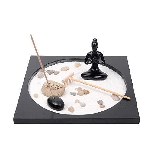Jolitac Zen - Figura Decorativa de jardín con Buda Sentado, Cobble, Rocks Sand and Rake para Escritorio y decoración del hogar