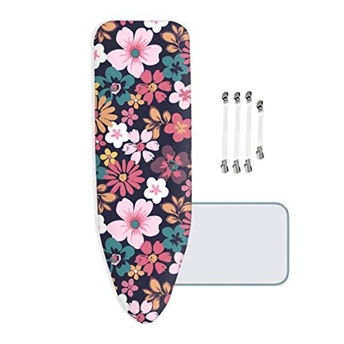 ZYRSMM strijkplankovertrek, met 4 mm dik vilt, roze bloem, met 4 clips, geschikt voor alle grote en bijzonder grote strijkplanken
