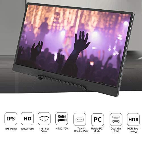 Byged Monitor de Juegos HDMI, aleación de Aluminio 178 ° Vista Completa HD 1080P Pantalla HDMI Monitor de 13.3 '' HDR, para Xbox para PS4
