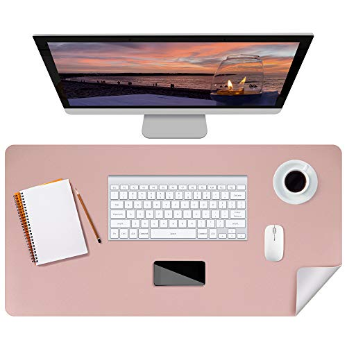 """Puroma Office Desk Pad PU Leather Desk Mat, 31.5"""" X 15.7"""" Large Mouse Pad Laptop Desk Mat, Waterproof Desk Cover Protector, Dual-Sided Multifunctional Desk Writing Mat for Office (Pink and Grey)"""