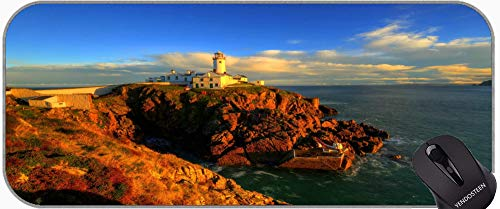 Cojín de ratón de Juego Grande, Faro acantilado mar acantilado Agua Away Road Gaming Gaming Mat