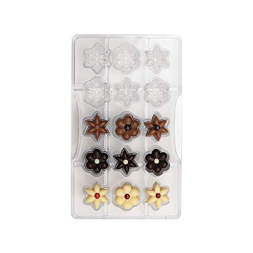 Decora 0050142 Professionele Chocolade Vorm Bloemen 15 Cavity Diameter 25 x H 15 mm, Polycarbonaat