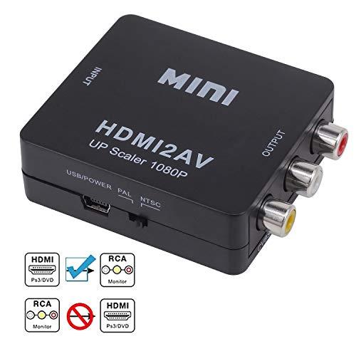 HDMI to RCA, HD Video Converter, Yeebline 1080P Mini HDMI to 3RCA AV/CVBS...
