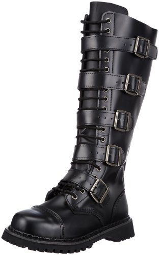 Demonia RIOT-20 Herren Combat Boots, Schwarz (Blk Leather), EU 44 (UK 11) (US 12)