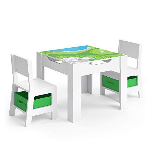 VICCO Kindersitzgruppe STELLA Sitzgruppe für Kinder 2 Stühle Tisch Maltisch Holz (Grüne Boxen)