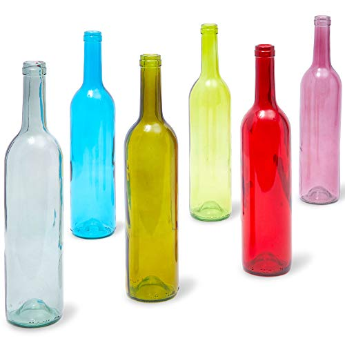 Juvale Empty Glass Bordeaux Wine Bottles (6 Pack) 6 Colors