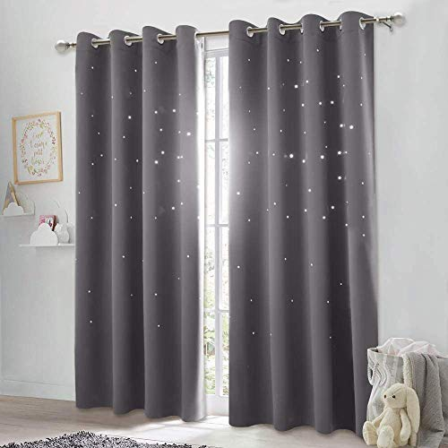 NICETOWN Blackout Curtain with Die-Cut Stars - Starry Night Sleep-Enhancing Cosmic Themed Twinkle Drapes for Baby Nursery, Draft Blocking Draperies (2-Pack, W52 x L84 inches, Gray)