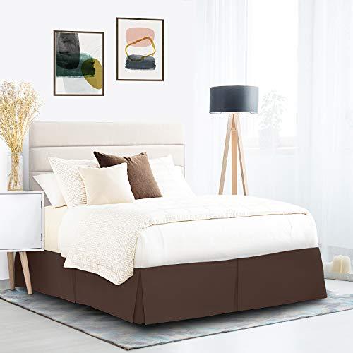 Bettrock, plissiert, einfach zu montieren, 35,6 cm, weiche gebürstete Premium-Mikrofaser-Rüschen, luxuriöser Bettrock, Hotelqualität, Staub-Rüschen, Doppelbett-Größe, Dunkelbraun