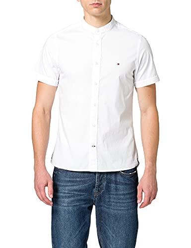 Tommy Hilfiger Herren Slim Stretch Mandarin Shirt S/S Hemd, weiß, XL