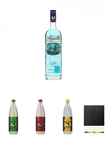 Magellan Blue Gin 0,7 Liter + Thomas Henry Bitter Lemon 1,0 Liter + Thomas Henry Spicy Ginger 1,0 Liter + Thomas Henry Tonic Water 1,0 Liter + Schiefer Glasuntersetzer eckig ca. 9,5 cm Durchmesser