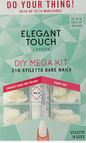 Elegant Touch Totally Bare - Kit unghie finte, forma a stiletto