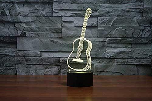 Illusion 3D-nachtlampje met led, 3D-ukelele, gitaar, action figuur, 7 kleuren, touch-look, tafellamp, model voor decoratie van het huis