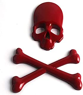 3D Metal Skull Skeleton Crossbones Car Motorcycle Sticker Truck Label Emblem Badge Car Styling Decoration Accessories - (Color Name: Red)