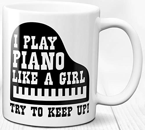 Klavier Mädchen Kaffeetasse 330 ml Geschenk für Klavierspieler Musikliebhaber Keramik Tasse Geschenk