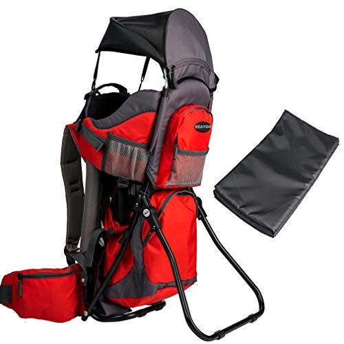 Portabebes Mochila para bebés de 9 a 48 meses con soporte y sombrilla para bebés de 20 kg (rojo)